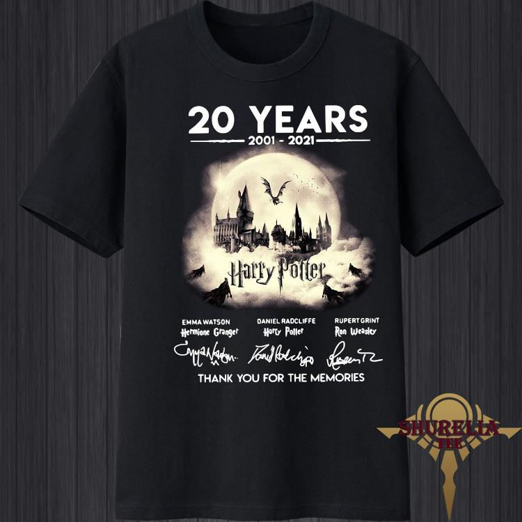 20 Years 2001-2021 Thank You For The Memories Emma Watson Daniel Radcliffe And Rupert Grint Signatures Shirt